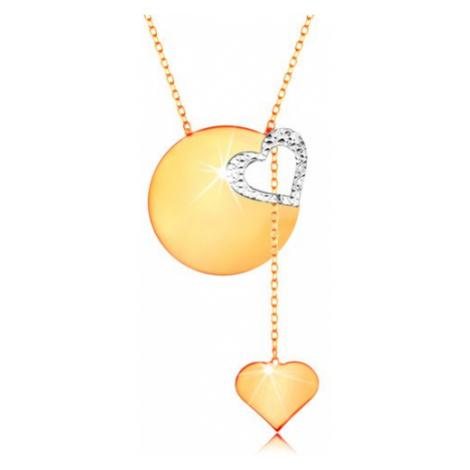 Zlatý náhrdelník 585 - jemný řetízek, lesklý plochý kruh, kontura srdce z bílého zlata Šperky eshop