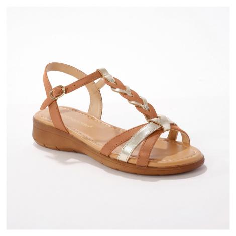 Blancheporte Kožené sandály se splétaným páskem, karamelové karamelová