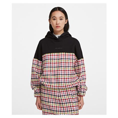 Mikina Karl Lagerfeld Boucle Jersey Mix Hoodie - Černá