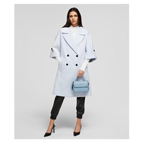 Kabát Karl Lagerfeld Cotton Twill Db Coat - Modrá