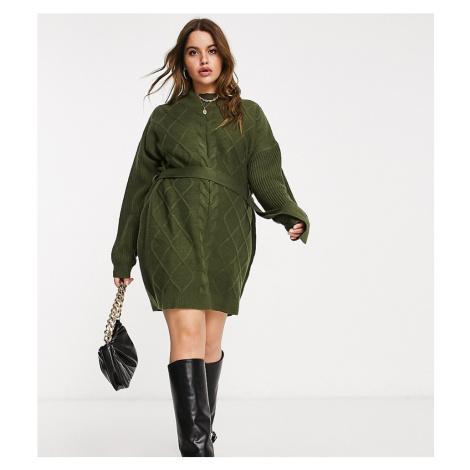 AX Paris Plus cable knit jumper dress in khaki-Green