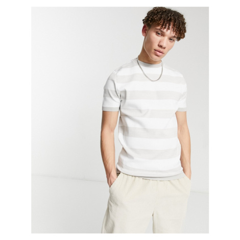 River Island striped t-shirt in stone