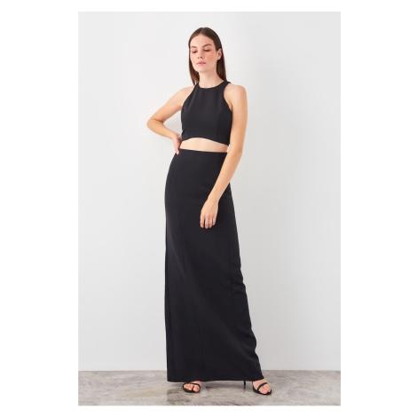 Trendyol Black Waist Decolletage Evening Dress
