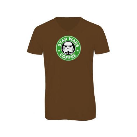 Pánské triko s výstřihem do V Starwars coffee