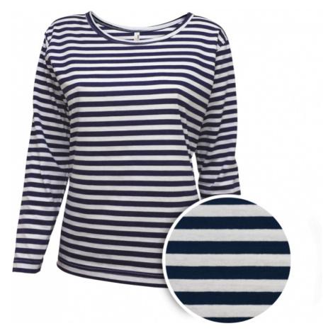 Pruhované tričko dlouhe Bílo-Modré AF - dámské