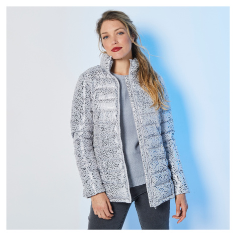 Blancheporte Krátká prošívaná lesklá bunda šedá/stříbřitá potisk