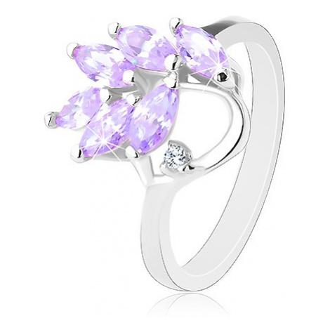Blýskavý prsten stříbrné barvy, větvička se světle fialovými zrnky Šperky eshop