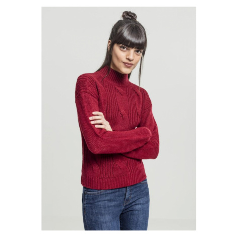 Ladies Short Turtleneck Sweater - burgundy Urban Classics