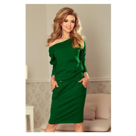 189-3 Sukienka dresowa z dekoltem na plecach - ZIELEŃ BUTELKOWA NUMOCO