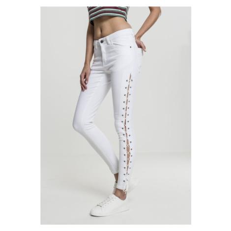 Ladies Denim Lace Up Skinny Pants - white Urban Classics