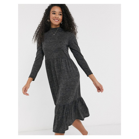 New Look seam midi dress in dark grey