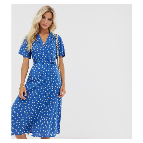 Wednesday's Girl midi shirt dress in floral print-Blue
