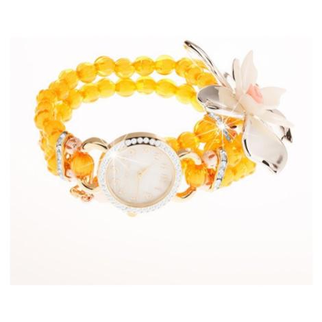 Hodinky z průhledných žlutých korálků, ciferník se zirkony, velký květ Šperky eshop