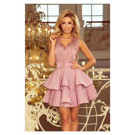 Exkluzivní dámské šaty v barvě lila s krajkovým výstřihem model 7638090 NUMOCO