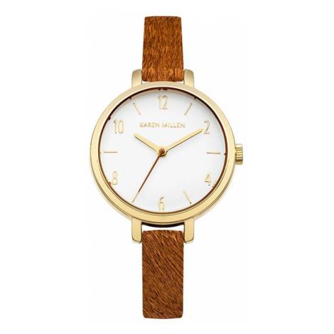 Hnedo-zlaté hodinky KM138TG Karen Millen