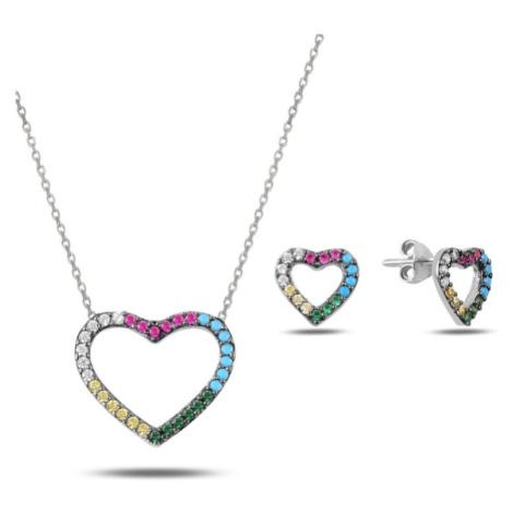 OLIVIE Sada stříbrných šperků BAREVNÉ SRDCE 2882