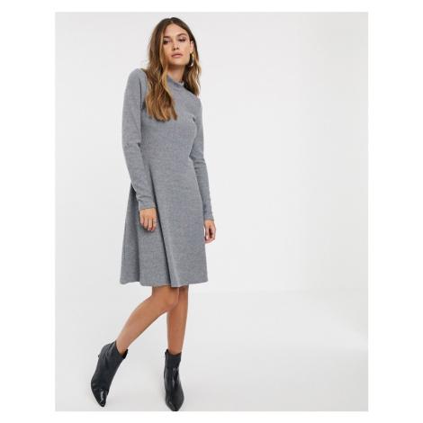 Y.A.S rib knitted mini dress-Grey