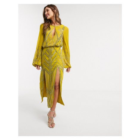 ASOS DESIGN Eivissa blouson linear embellished midi dress-Yellow
