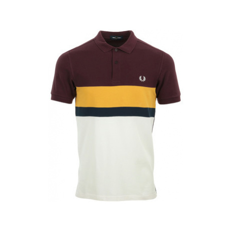 Fred Perry Colour Block Polo Shirt Bílá