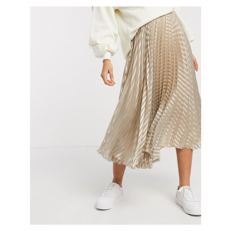 ASOS DESIGN self stripe pleated midi skirt in beige