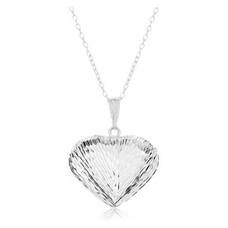 Náhrdelník ze stříbra 925, řetízek a přívěsek - vypouklé srdce se zářezy Šperky eshop