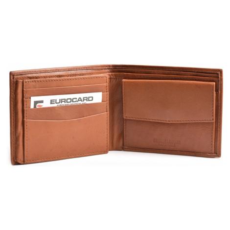 BRIGHT Pánská kožená peněženka na šířku Hnědá, 12 x 2 x 10 (KP00-P15632-13KUZ)