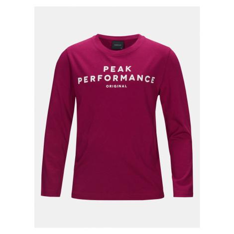 Tričko Peak Performance Jr Orig Ls T-Shirt - Růžová