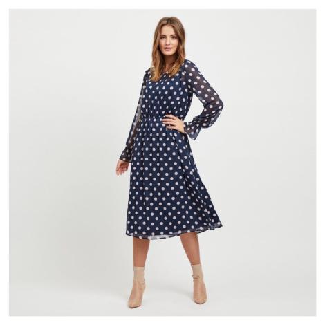 Modré midi šaty s puntíky Dotly Vila