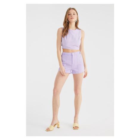 Trendyol Lilac Stitch Detailed Denim Shorts