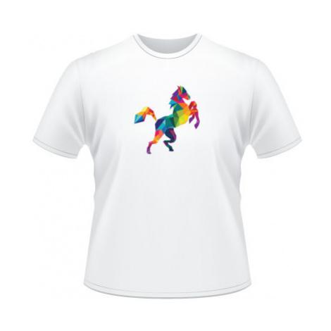 Pánské tričko na tělo Kůň z polygonů