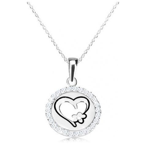 Náhrdelník ze stříbra 925 - kruhový přívěsek se srdcem a kvítkem, jemný řetízek Šperky eshop