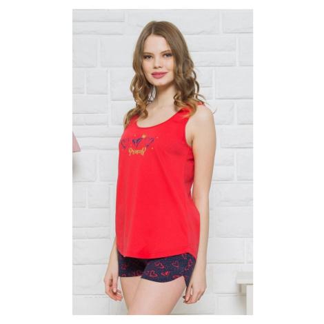Dámské pyžamo šortky na ramínka Princess, XL, červená Vienetta Secret