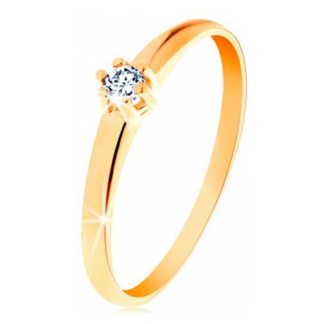 Zlatý prsten 585 - kulatý diamant čiré barvy v šesticípém kotlíku Šperky eshop
