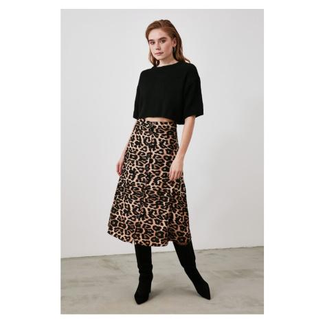 Trendyol Camel Velvet Fabric Detailed Skirt