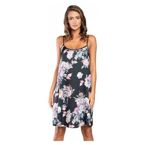 Italian Fashion Saténová košilka Santorini černá s květy