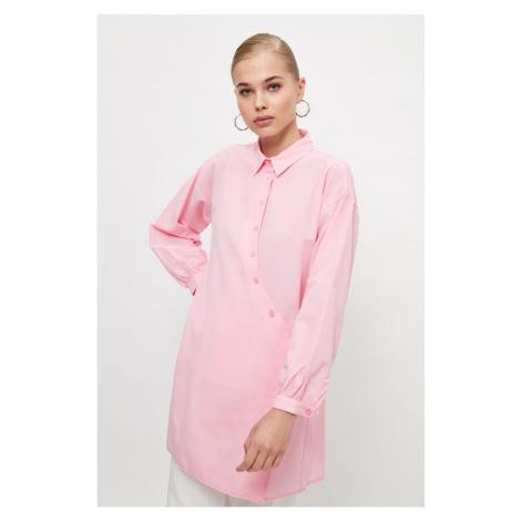 Trendyol Pink Shirt Collar Tunic