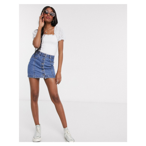 New Look broderie sleeve shirred tee in white