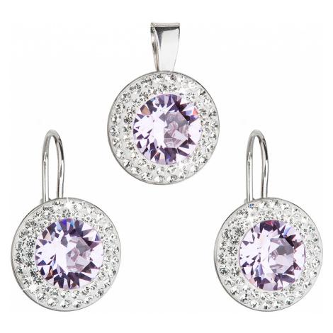 Sada šperků s krystaly Swarovski náušnice a přívěsek fialové kulaté 39107.3 Victum