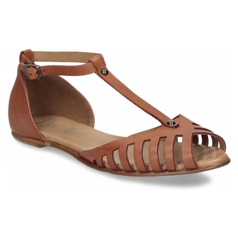 Terakotové dámské kožené sandály Baťa