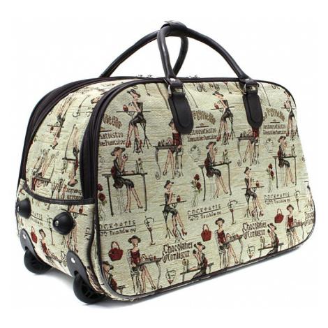 Hnědá velká cestovní látková taška se vzorem Madoline Mahel