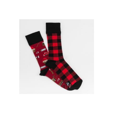 Many Mornings Lumberjack Life Socks červené / černé / vínové