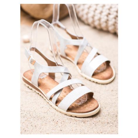 Jedinečné sandály dámské bílé bez podpatku