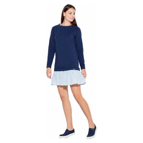Katrus Woman's Dress K451 Navy Blue