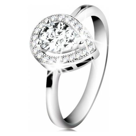 Rhodiovaný prsten, stříbro 925, čirá zirkonová slza v zářivé kontuře