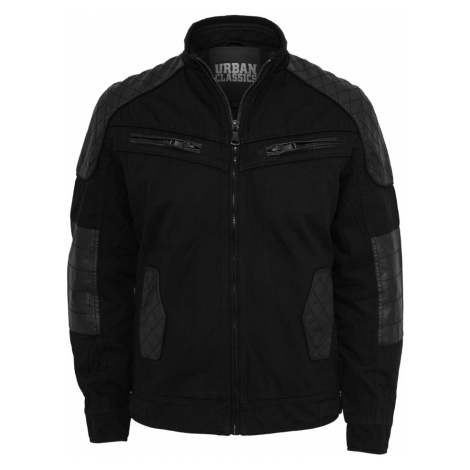 Cotton/Leathermix Racer Jacket - black Urban Classics