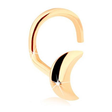 Zlatý zahnutý piercing do nosu 585, lesklý srpek měsíce Šperky eshop