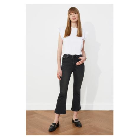 Trendyol Black High Waist Crop Flare Jeans