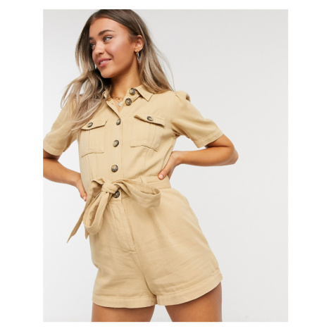 Miss Selfridge utility playsuit in sand-Beige