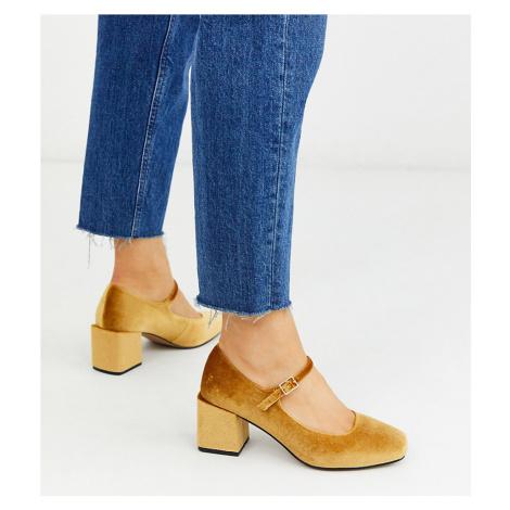 ASOS DESIGN Wide Fit Willing mary-jane block heels in ochre velvet-Yellow