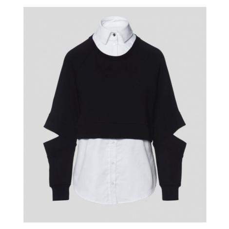 Mikina Karl Lagerfeld Double Layer Fabric Mix Sweat - Černá